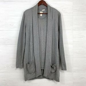 Chicos SZ 2 Gray Silk Blend Twinset Cardigan